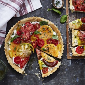 Tomato Heirloom tart with ricotta and basil
