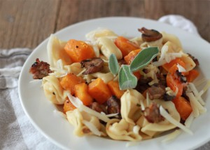 pasta Cheese-Tortellini-with-Butternut-Squash-Mushrooms-Gruyere-and-Sausage