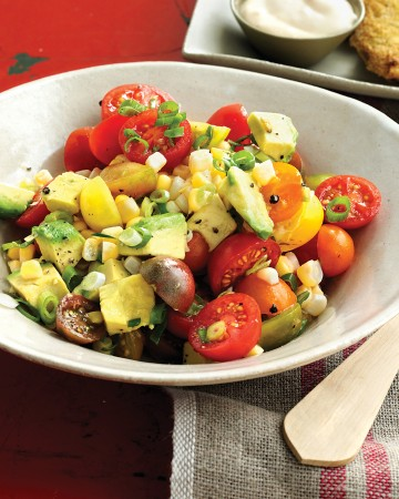 salad tomato corn avocado