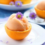 cantaloupe orange sorbet in rind