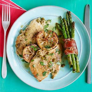chicken piccata w prosciutto wrapped asparagus