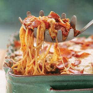 Casserole pizza-spaghetti