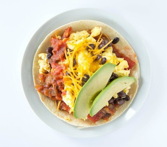breakfast scrambled egg tostada